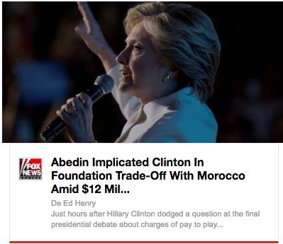 Fox tituló este fin de semana la conexión entre Clinton y Marruecos.