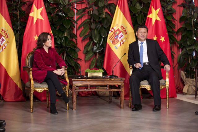 Soraya Sáenz de Santamaría y Xi Jinping,en el Costa Meloneras.