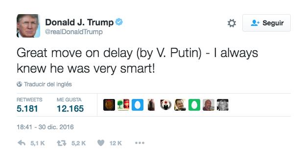 Twitter de Trump a Putin, este viernes.