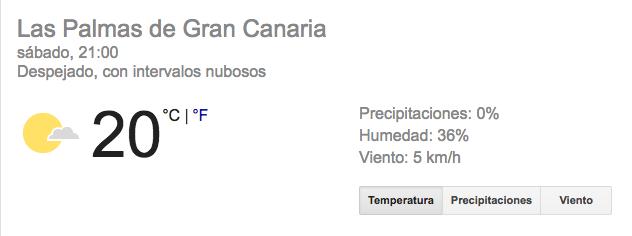 Tiempo en GC, este sábado, según Google.