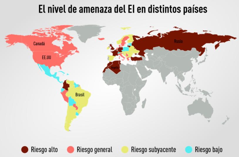 Estado Islámico según el mapa de riesgo elaborado por el Gobierno británico. No aparece como país Egipto. (Info Rusia Today).