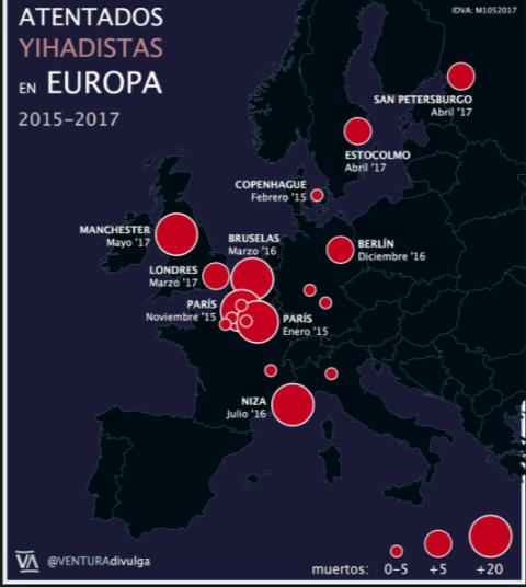 Mapa del horror en sólo dos años.