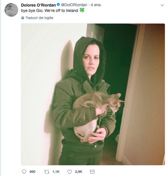 Dolores O'Riordan escribía un último 'tuit' en su cuenta oficial de Twitter el pasado 4 de enero, camino de Irlanda.