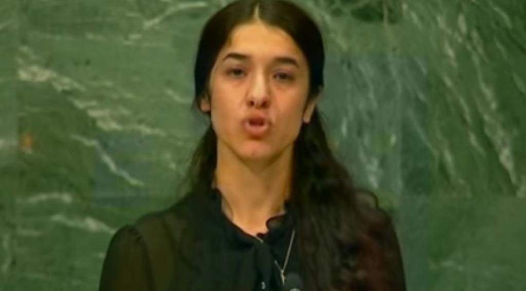 """Nadia Murad : """"Juro por Dios que estamos tan cansados de luchar"""", fueron las palabras ante la ONU, en nombre de los yazidíes."""
